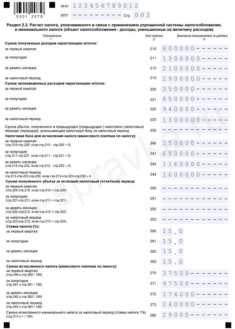 Декларация УСН доходы минус расходы Образец Образец заполнения декларации УСН доходы минус расходы форма КНД 1152017