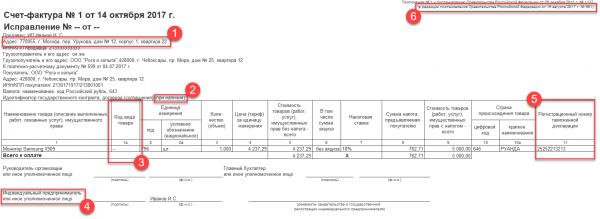 Счёт-фактура на поставку товара