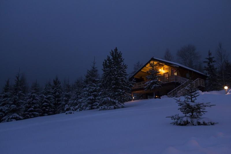 Лес домик зима