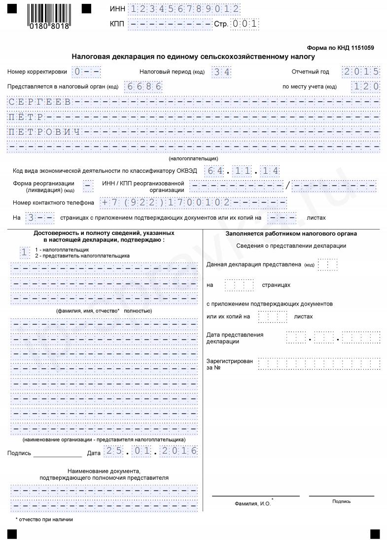 3 ндфл 2015 образец заполнения