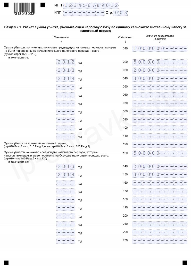 Образец заполнения декларации ЕСХН (форма КНД 1151059)