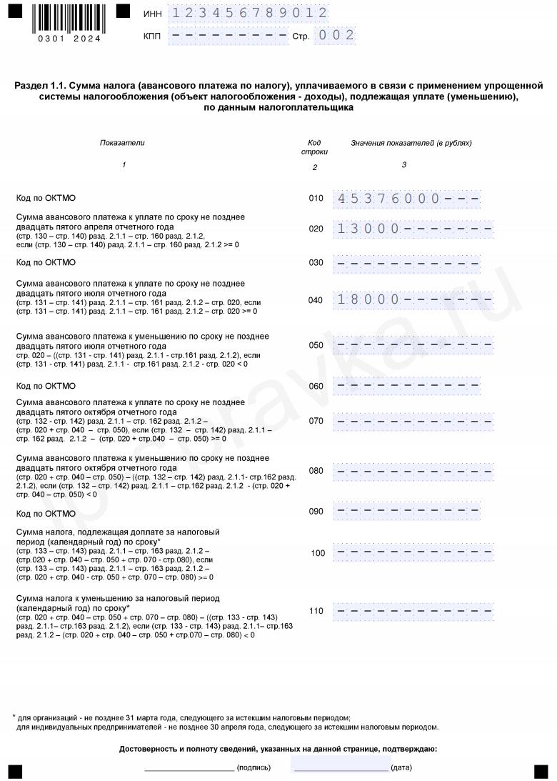 налог на прибыль декларация образец заполнения