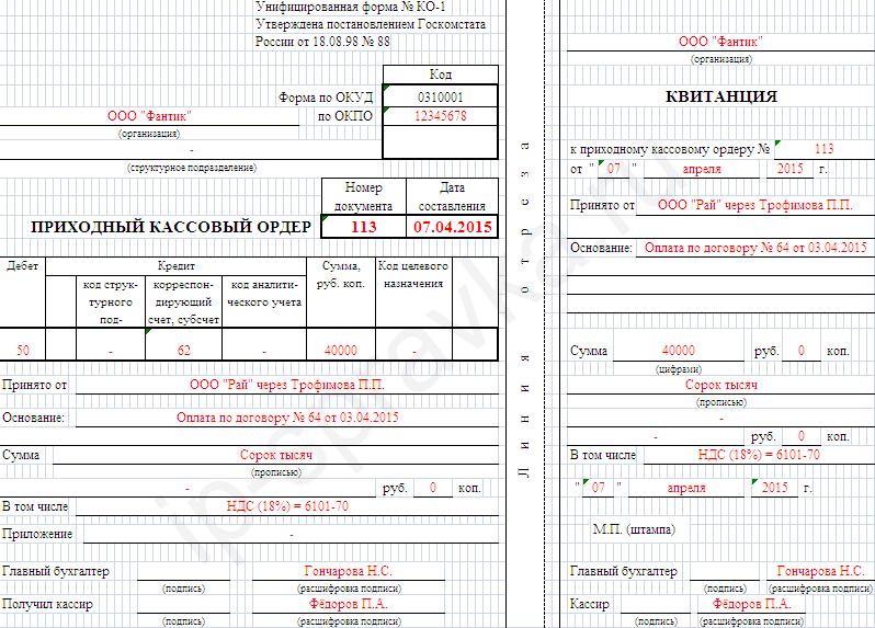 как заполнять расходный кассовый ордер образец заполнения