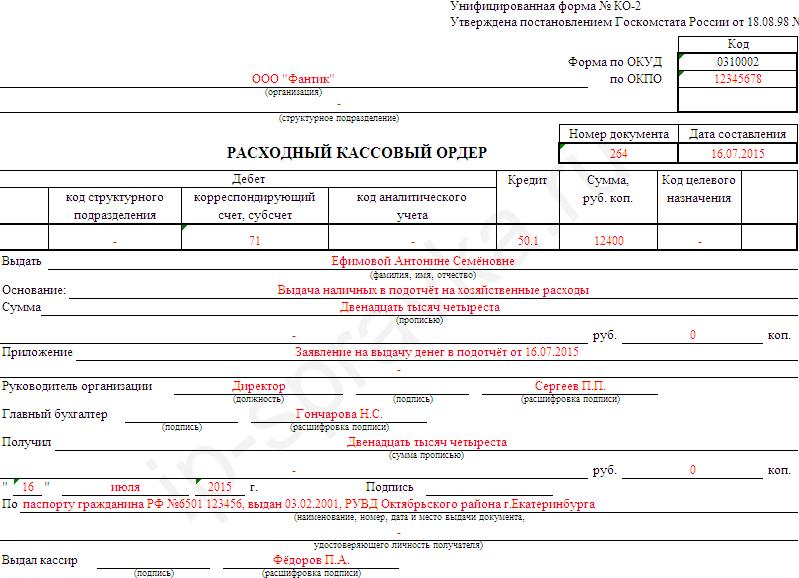 приходно кассовый ордер образец заполнения ип