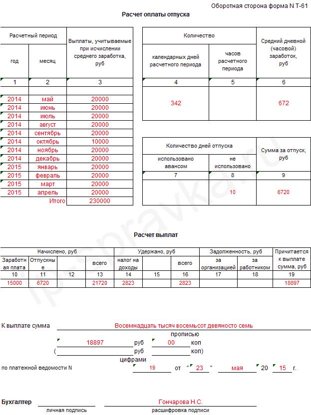 Записка-расчёт при увольнении форма Т-61