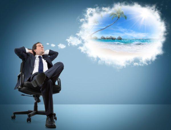 Бизнесмен мечтает об отпуске